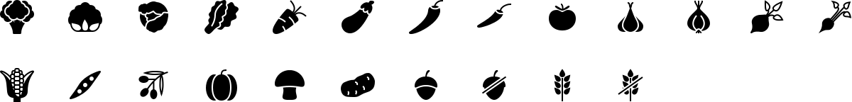Vegetable icons in fill style