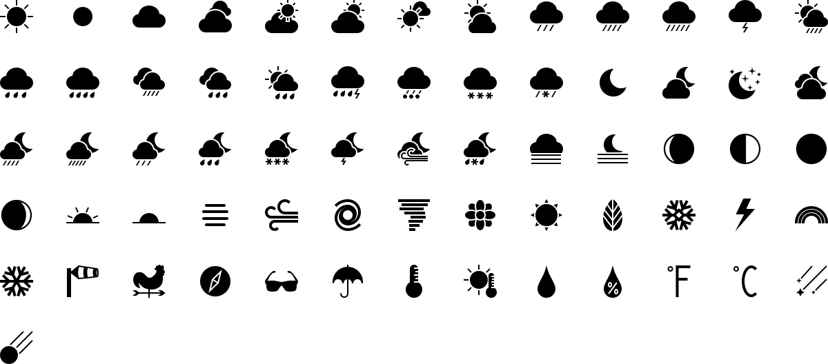 Weather icons in fill style