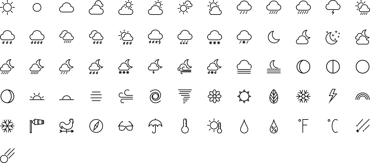 Weather icons in outline style
