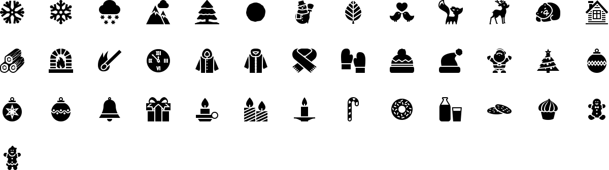 Winter icons in fill style