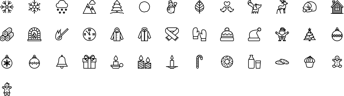 Winter icons in outline style